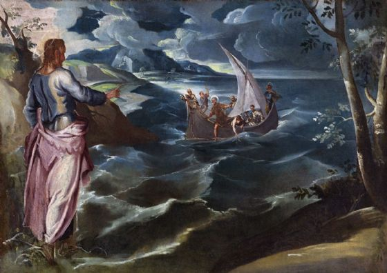 Tintoretto, Jacopo Robusti: Christ at the Sea of Galilee. Fine Art Print/Poster. Sizes: A4/A3/A2/A1 (004056)